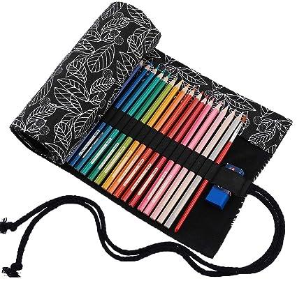 abaría - Estuche Enrollable para 72 lápices Colores, portalápices de Lona - Hoja Negra (no Tiene lápices)