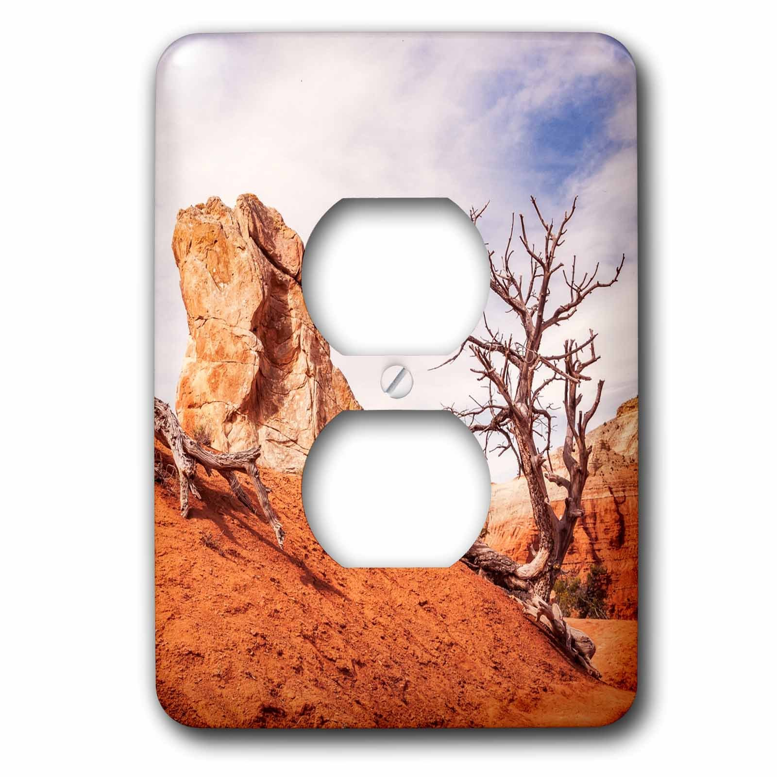 3dRose DanielaPhotography - Landscape, Nature - Going down the slope at Kodachrome Basin State Park, Utah, USA - Light Switch Covers - 2 plug outlet cover (lsp_282030_6)