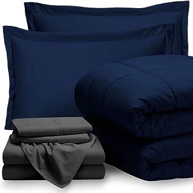 Bare Home Bed-in-A-Bag 7 Piece Comforter & Sheet Set - King - Goose Down Alternative - Ultra-Soft 1800 Premium - Hypoallergenic - Breathable Bedding Set (King, Dark Blue/Grey)