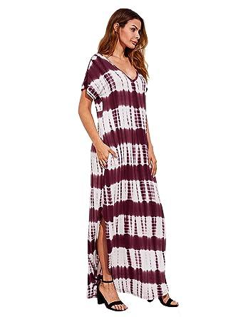 a63071801f47 MAKEMECHIC Casual Maxi Short Sleeve Split Tie Dye Long Dress Burgundy XS