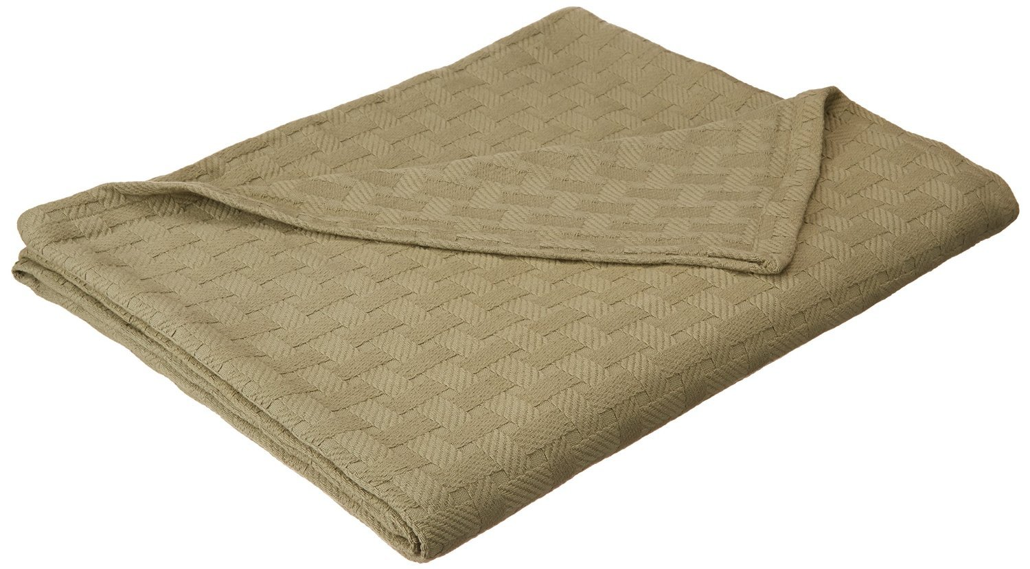 Superior 100% Cotton Thermal Blanket, Soft and Breathable Cotton for All Seasons, Bed Blanket and Oversized Throw Blanket with Luxurious Basket Weave Pattern - King Size, Sage