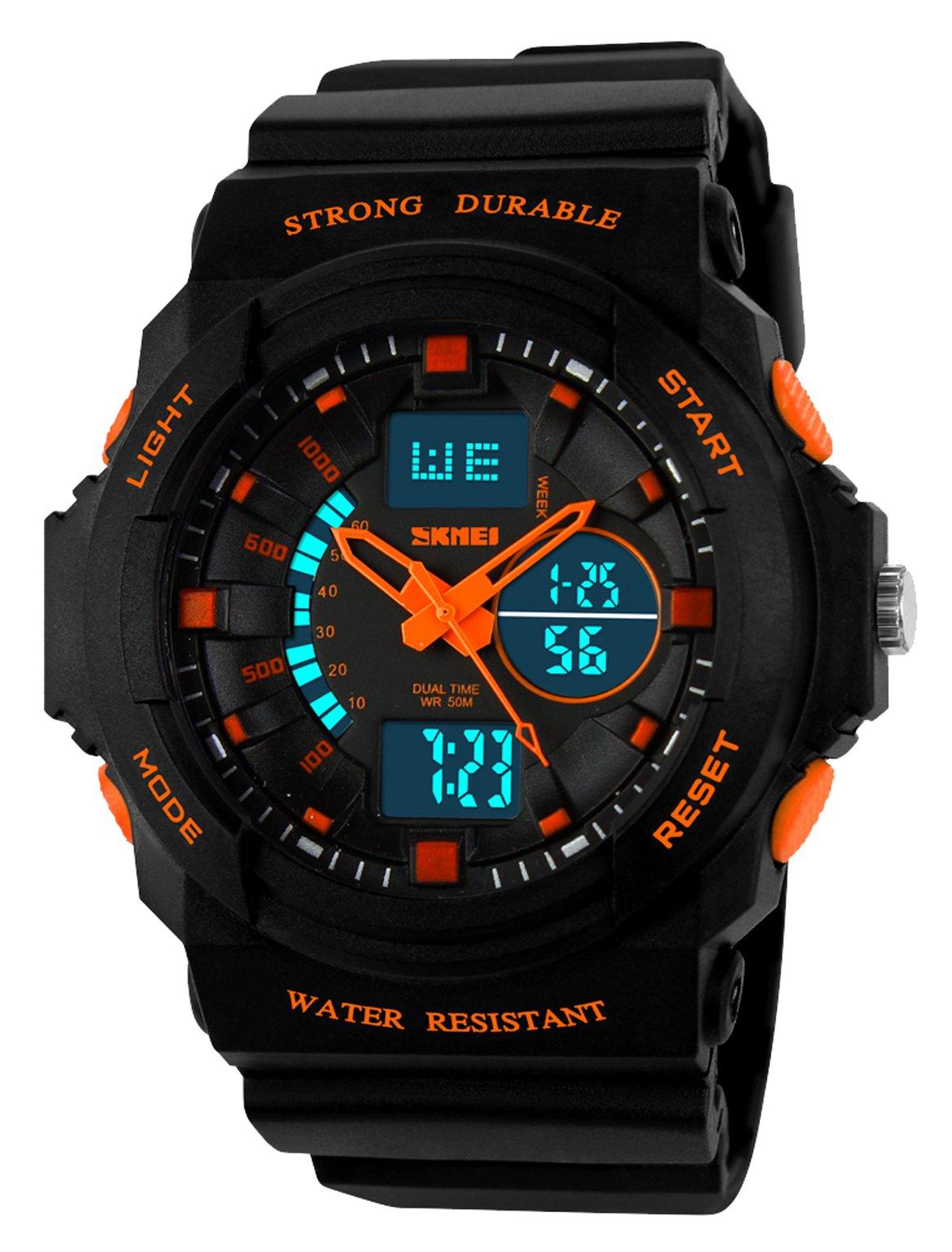 Kid LED Watch Child Boy Girl Sport Multi Function Digital Waterproof Electronic Quartz Watches Orange