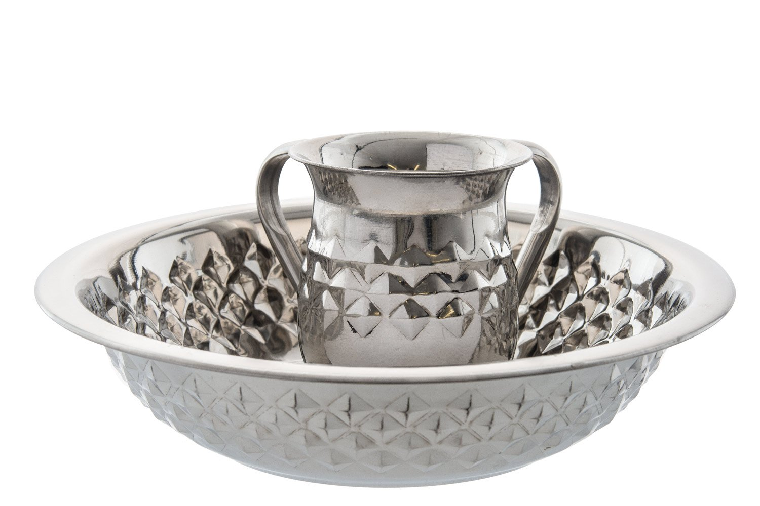 Stainless Steel Diamond Design Netilat Yadayim Wash Cup and Bowl Set