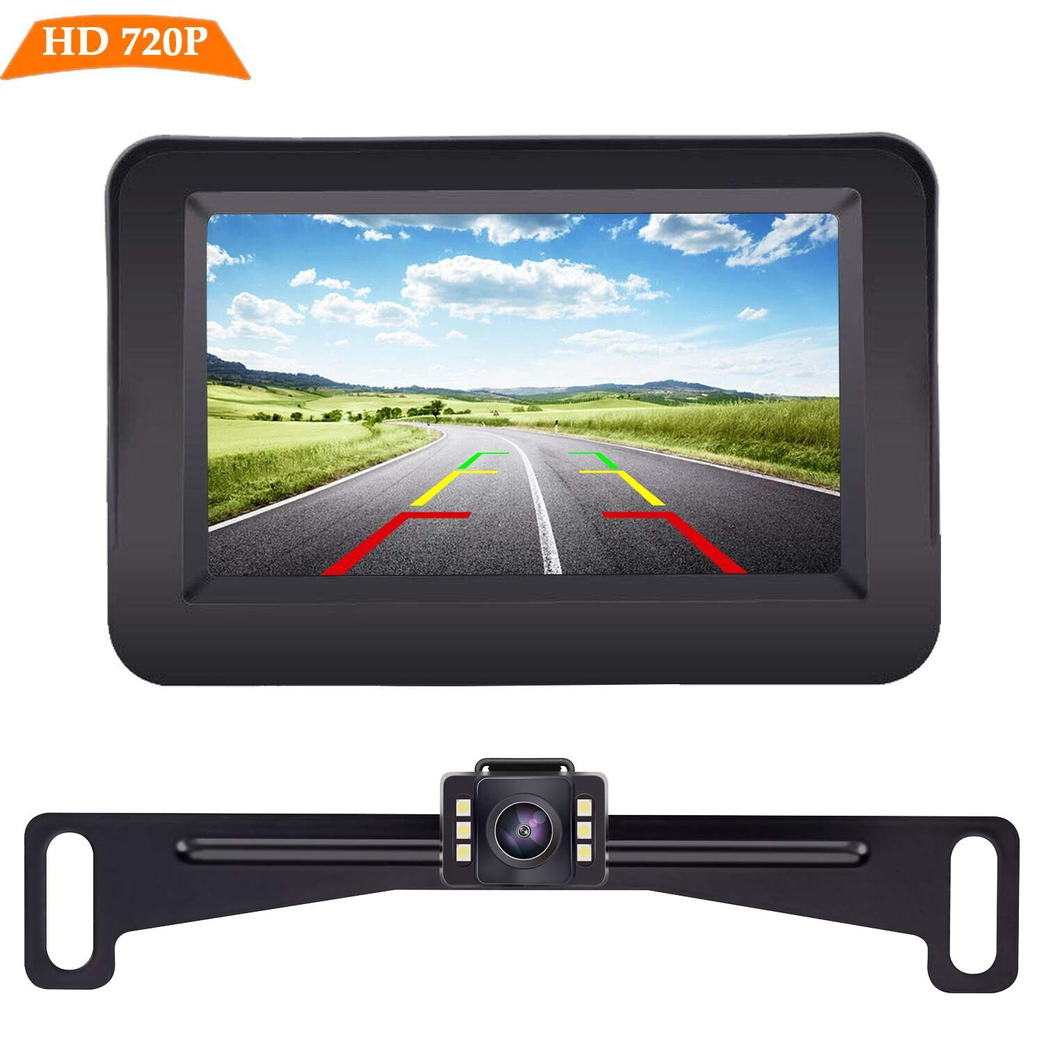 LeeKooLuu HD 720P Backup Camera and Monitor Kit OEM,Hitch Camera for Cars,Trucks,Vans,Campers Waterproof Super Night Vision Rear//Front View Camera One Power System Reverse//Continuous Use DIY Grid Line