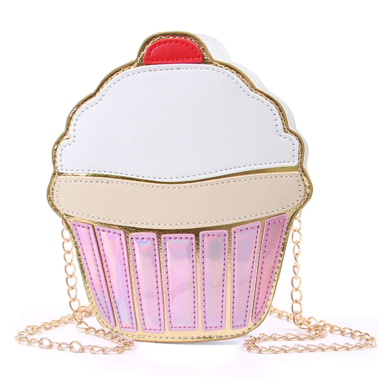 ویکالا · خرید  اصل اورجینال · خرید از آمازون · SUKUTU Girls Cupcake Popcorn PU Leather Crossbody Bag Shoulder Bag Small Purse and Cell Phone Bag wekala · ویکالا