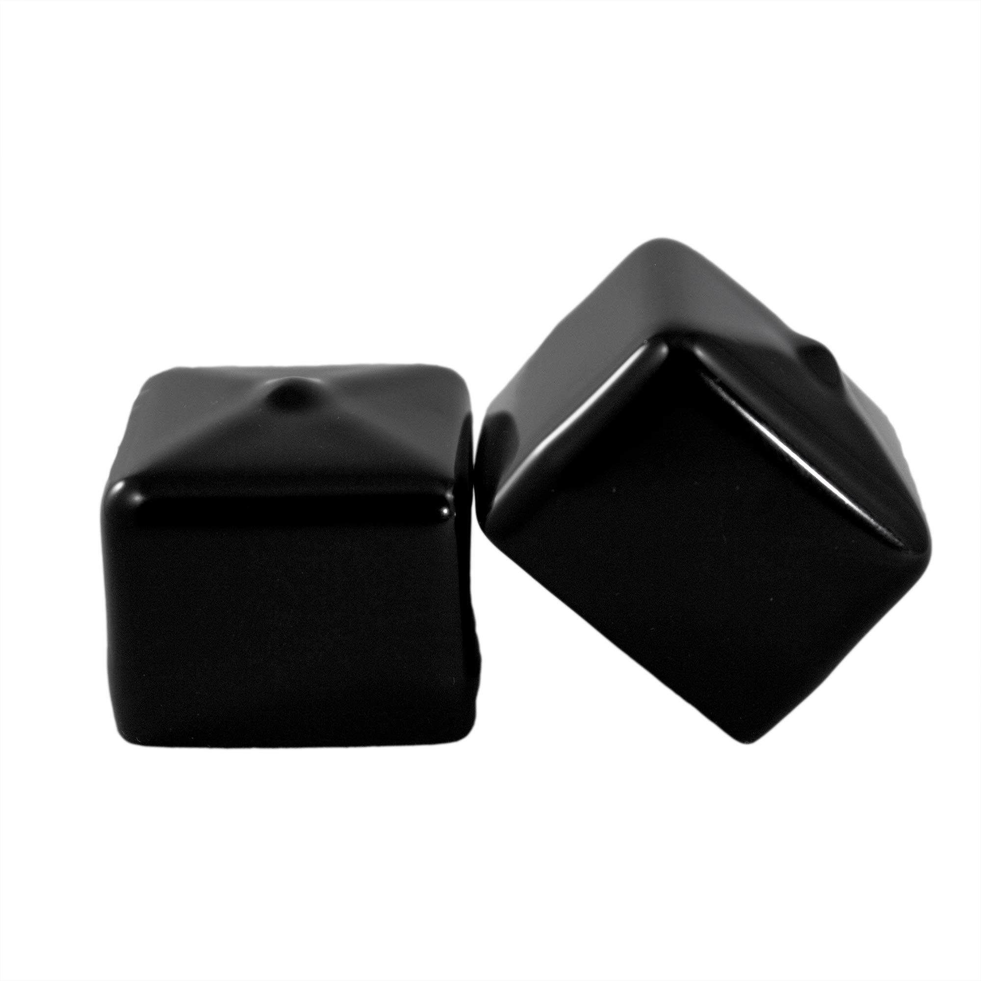 8 Pack - Vinyl Square Pipe End Cap Cover Black Rubber Plastic Tube Caps Tubing Post Marine Safety Stretchable PVC (1.25'' (1 1/4''))