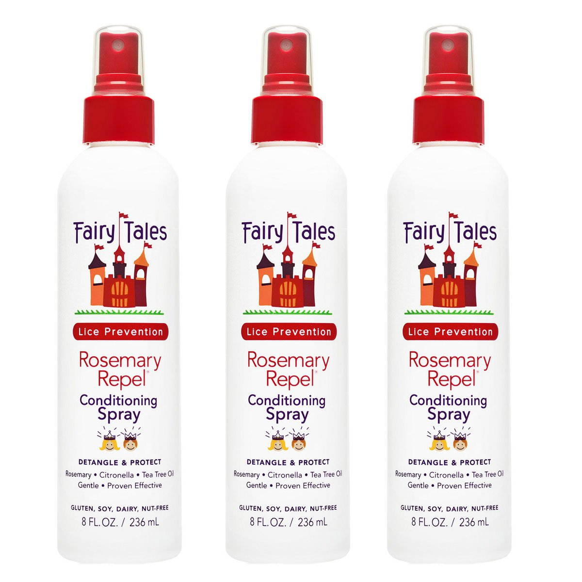 FAIRY TALES Rosemary Repel Lice Prevention Leave-In Conditioning Spray 8 oz - set of three