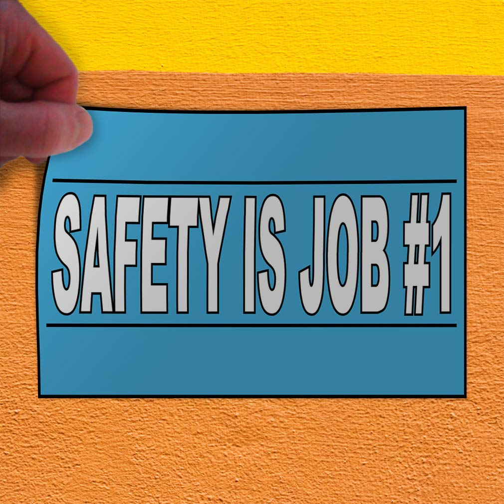 Set of 2 Decal Sticker Multiple Sizes Safety is Job Number 1 Blue White Lifestyle Safety Sign Outdoor Store Sign Light-Blue 52inx34in