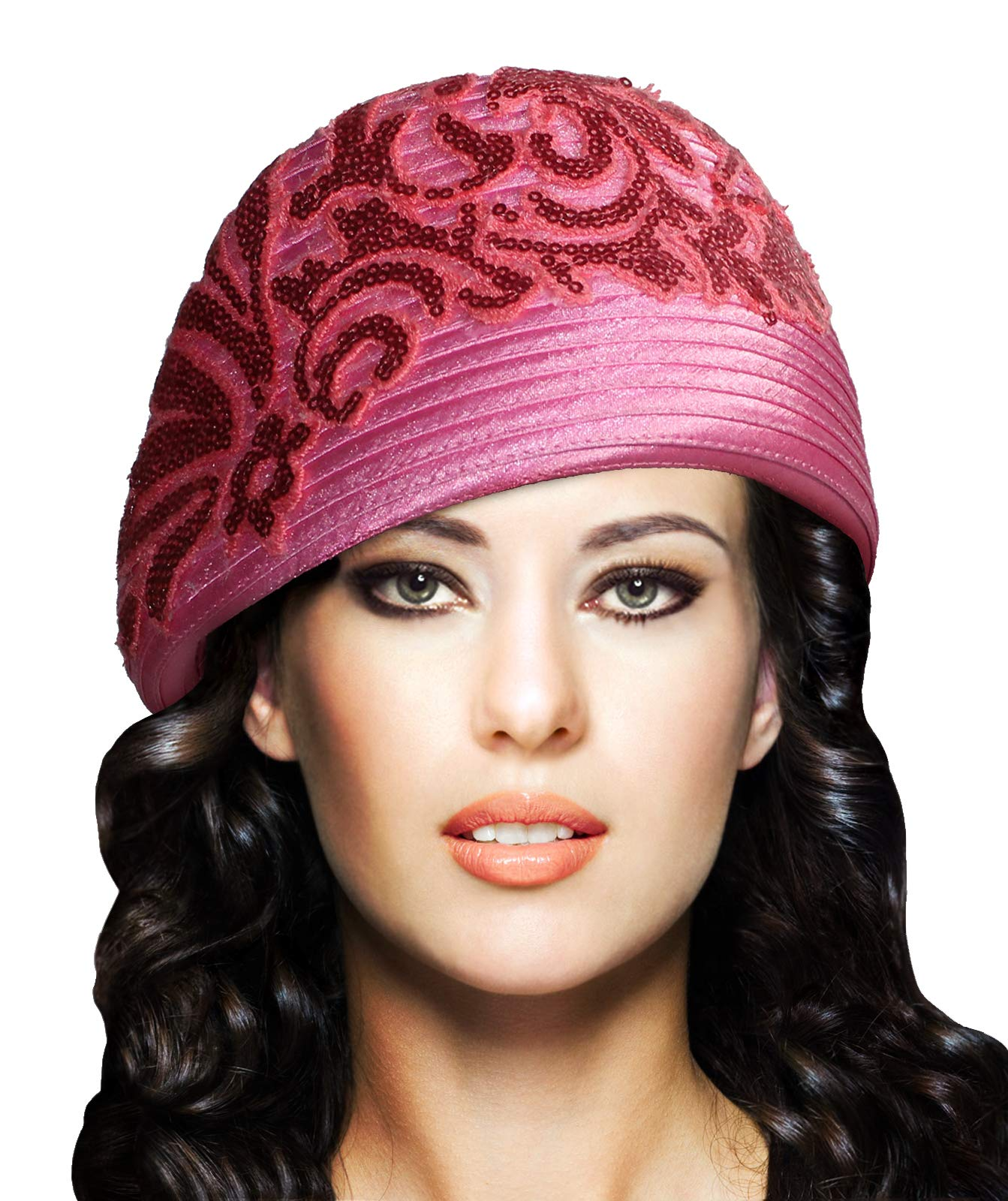 Mr. Song Millinery Beret Cloche Hat with Premium Lace - Q62 (Rose)