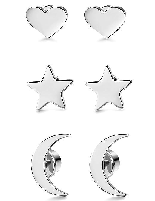 9a0da39c5770 Milacolato Acero Inoxidable Pendientes de Estrella Luna y Corazón de las Mujeres  Aretes Pendientes Piercing Cartilago Joyería de Moda Helix Ear Piercing