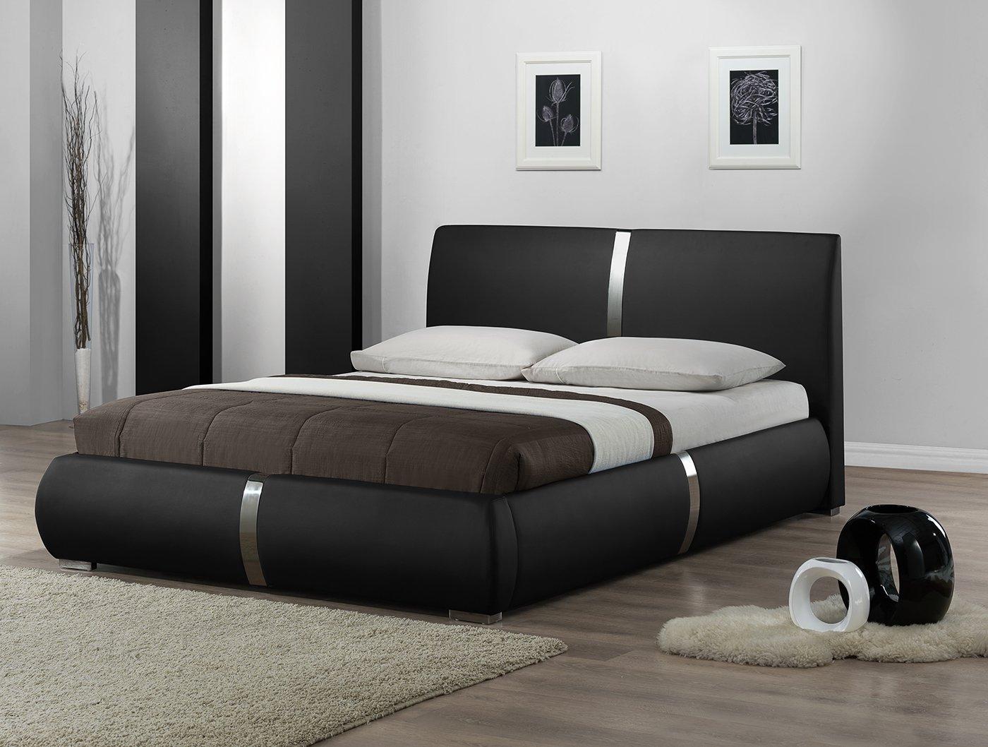 Pieds en m/étal et sommier int/égr/és Design /él/égant Eden Lit Double Noir 160 x 200 Qualit/é Excellium avec t/ête de Lit