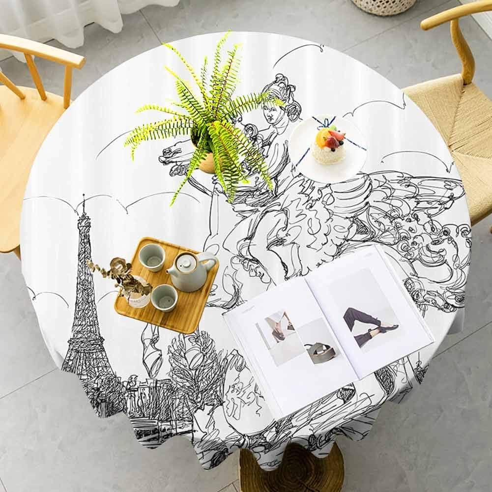 Decoración antigua mantel redondo cena paisaje urbano europeo Francia escultura histórica cría caballo Torre Eiffel secado rápido negro blanco diámetro 51 pulgadas