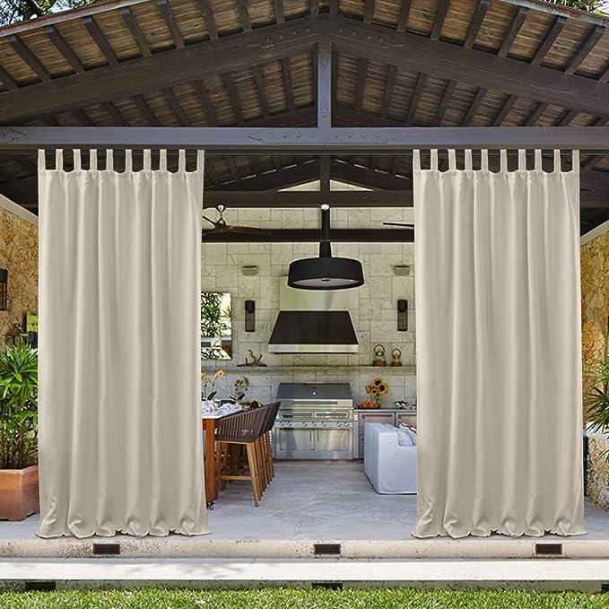 4x Outdoor Door Drape UV Privacy Waterproof Curtain for Porch Pergola 54x96inch