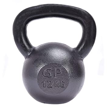 COSTWAY Kettlebell Pesa Rusa de Hierro Mancuerna 12kg para Musculación Fitness Gimnasio Negro
