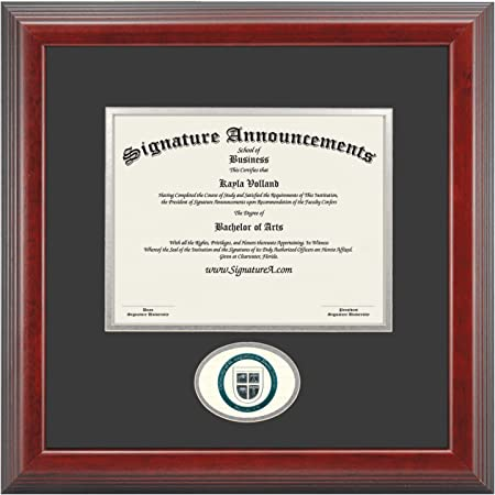 Gloss Mahogany w//Gold Accent, 16 x 16 Signature Announcements Univ-of-St.-Augustine-for-Health-Sci-Masters Undergraduate Graduate//Professional//Doctor Seal /& Name Graduation Frame
