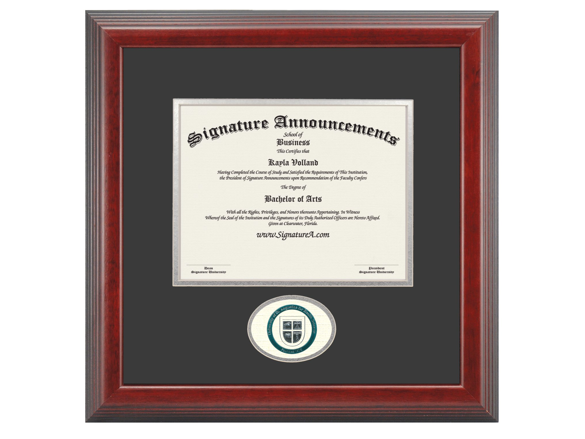 Signature Announcements University-of-St-Augustine-for-Health-Sciences Undergraduate, Graduate/Professional/Doctor Sculpted Foil Seal Diploma Frame, 16'' x 16'', Cherry