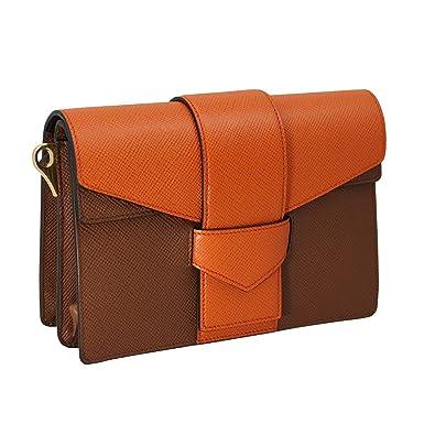 14571cce6d62 Amazon.com: PRADA Women's Saffiano Leather Shoulder Bag Bi-Color Bt0966:  Shoes