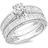 IGI CERTIFIED 3.00 Carat (ctw) 14K White Gold Princess & Round Diamond Bridal Engagement Ring Set 3 CT