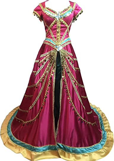Myyh Adult Princess Jasmine Dress Cosplay Costume Deluxe Fancy Dress Halloween Clothing