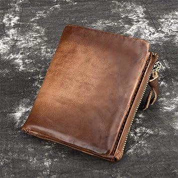 Fuythzor RFID Cartera de Cuero Vintage para Hombre Monedero ...