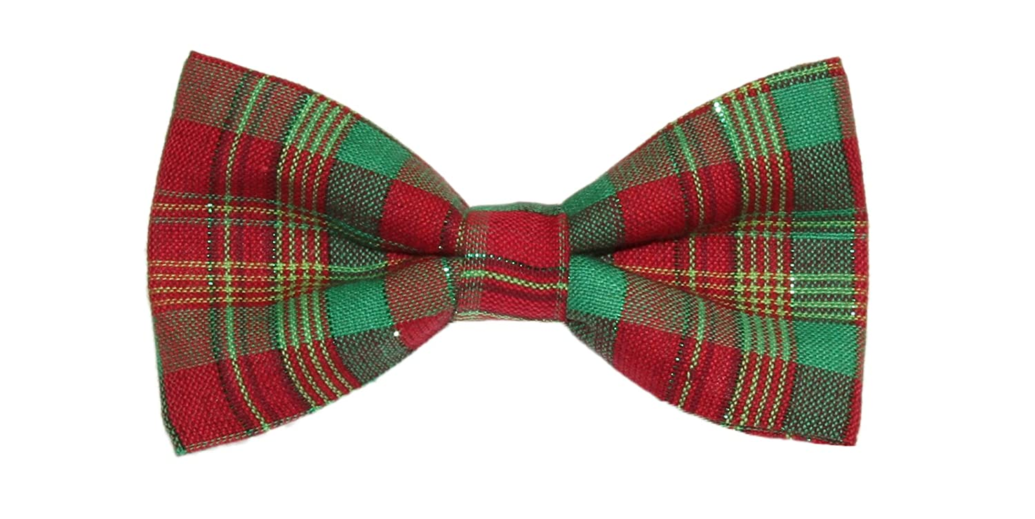 Mens Christmas Holiday Red//Green Plaid With Tinsel Clip On Bow Tie