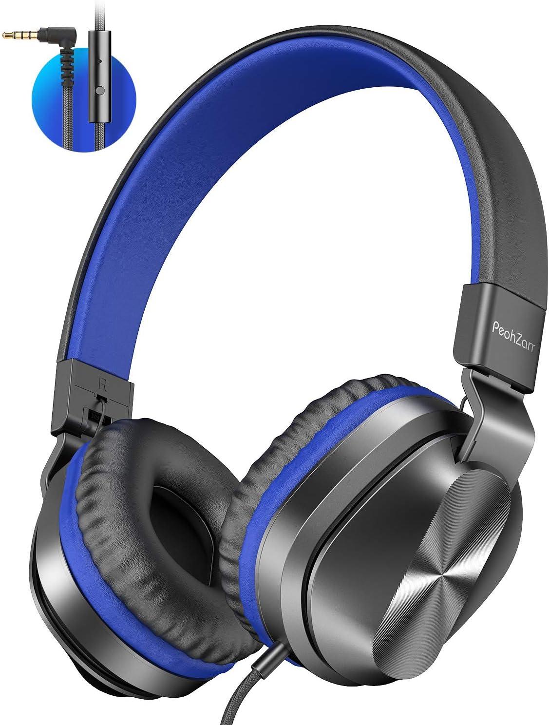 PeohZarr Kinder Kopfh/örer mit Mikrofon Laptop MP3//4 iPad Faltbar Leicht Tablet Computer Stereo-Bass-Kinderkopfh/örer mit 1,5 m Langem Kabel Blau Tragbare On-Ear-Kopfh/örer f/ür Smartphone