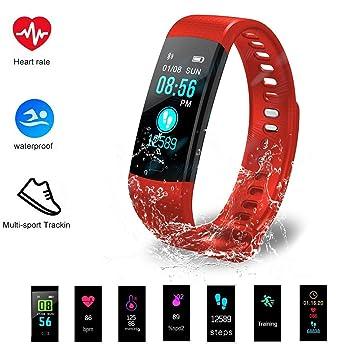 Hinmay Fitness Tracker HR, Pulsera Inteligente con Monitor de frecuencia Cardíaca, IP67, Impermeable