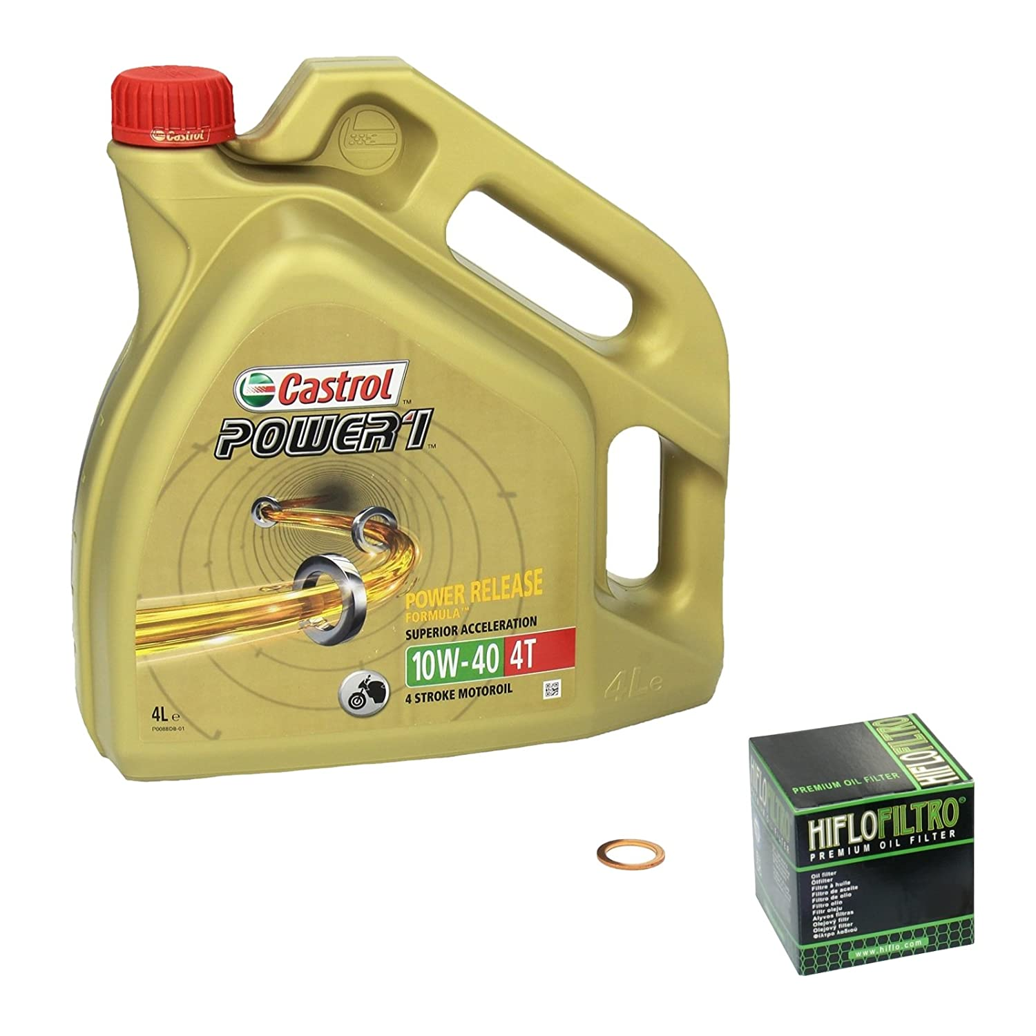 Castrol POWER1 (10W - 40 Oil Filler Kit for Yamaha XV 1000 Virago Built 86-88 HiFlo oil and oil Shaft Seal-Crankshaft 4055029078222