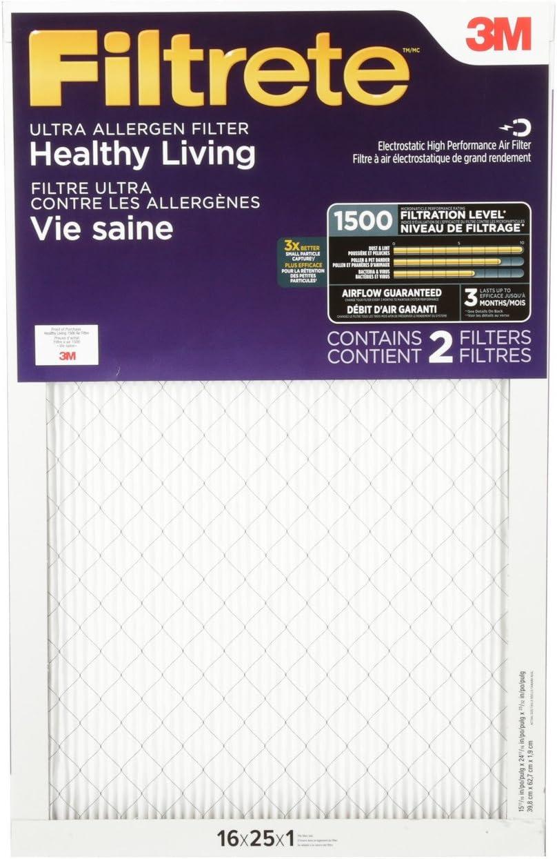 14x25x1 1500 MPR 6-Pack 3M 02004 Filtrete Ultra Allergen Reduction Filters