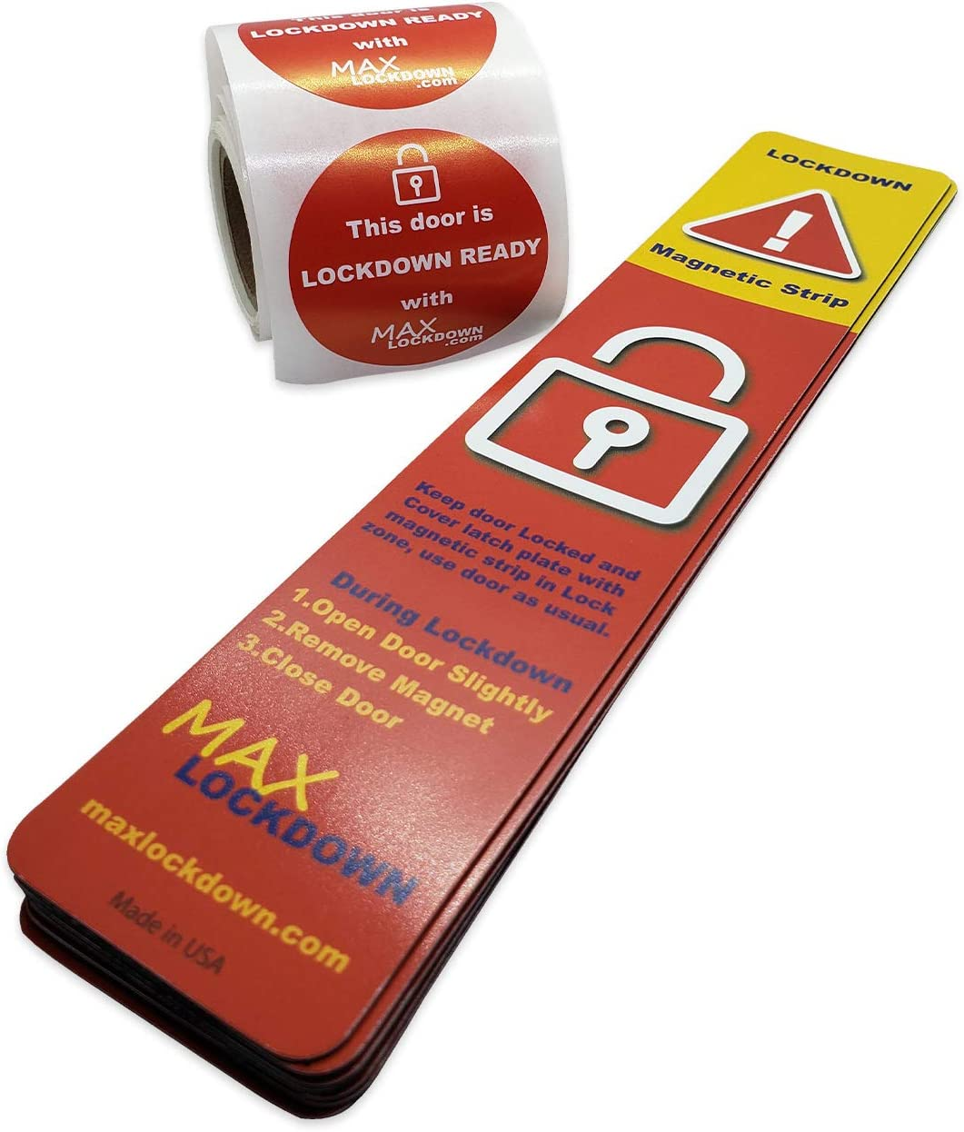 Lockdown Magnetic Strips for School lockdowns or Office Emergency 100 Pack Maxlockdown Full Size Easy and Quick Way to Lock Door in an Event of a Lockdown or an Emergency.