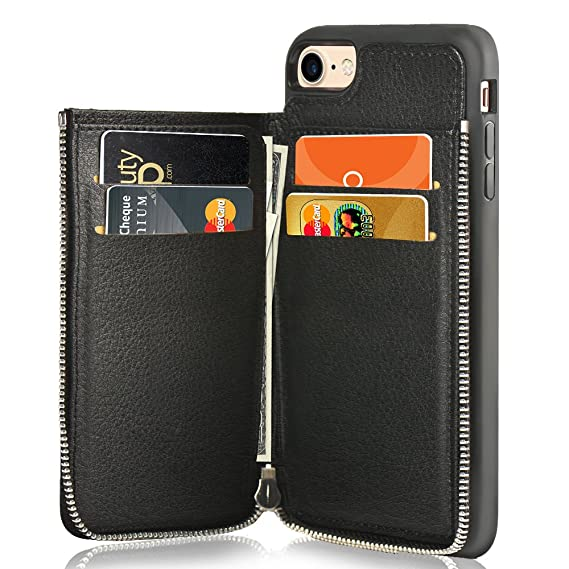 detailed look e2199 06be0 LAMEEKU iPhone 7 Wallet Case/iPhone 8 Case Wallet Shockproof Leather Credit  Card Slot Holder Cover with Zipper Wallet, Protective for Apple iPhone 7 ...