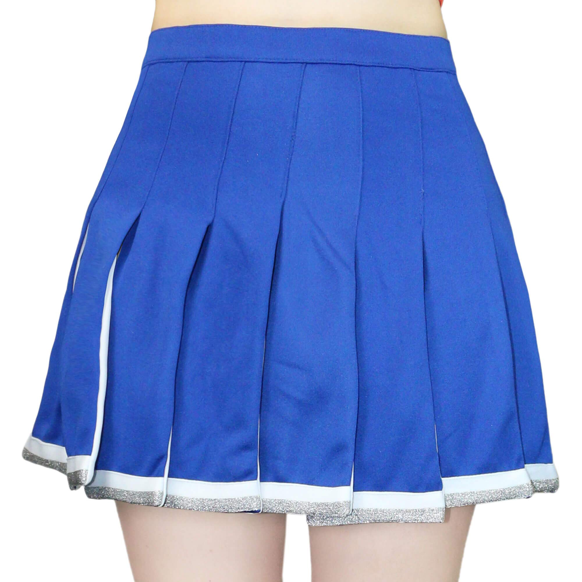 Danzcue Adult Cheerleading Pleated Skirt, Royal-White, Small by Danzcue