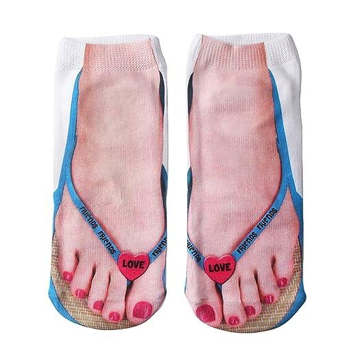 7cea87c535408 Ryshman Multiple Colors Style 3D socks women Print Socks Casual  Personalized Flip Flop Socks Low Cut