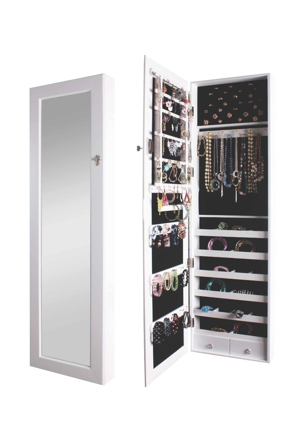 BTEXPERT Premium LED light Wooden Jewelry Armoire Wall Mount Cabinet with Mirror and Drawers