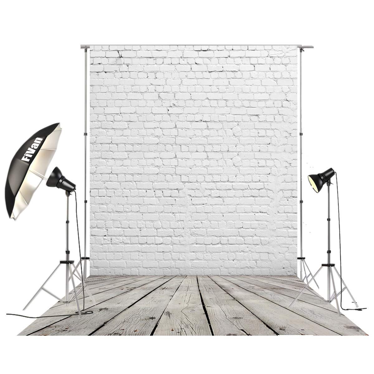 HUAYI 5'x10' Vinyl Backdrop for Photo Studio Pictures Home Decoration DIY Food Background Brick and Wood Floor D-2504