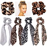 Jaciya 6 Pack Leopard Scrunchies - Animal Print Hair Scrunchies for Hair Bow Chiffon Scrunchies for Women Scrunchies with Bow for Hair, 6 Colors