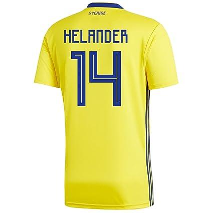 523202135 adidas HELANDER  14 Sweden Home Men s Soccer Jersey World Cup Russia 2018  ...