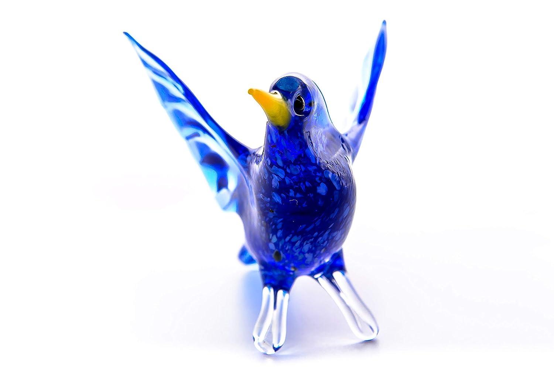 Glass Bird Animal Figurine Handmade Hand Blown Art Glass Figure 2.75