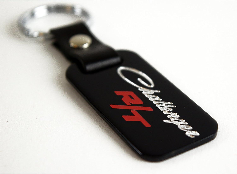Dodge R//T RT Logo Keychain Red Wave Chrome Key Fob Metal Key Ring Lanyard Mopar