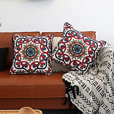 Gift for Her House Warming Gift Decorative Pillow Cover Living Room Decor Handmade Pure Silk Pillow Mustard and Blue Lumbar Pillow