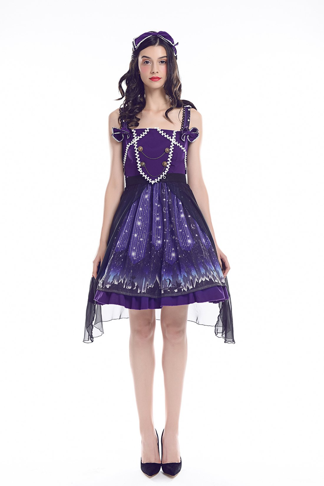 Nuoqi Lolita Dress Womens Sweet Suit Lace Chiffon Ruffle Skirt Costume (Medium, Purple)