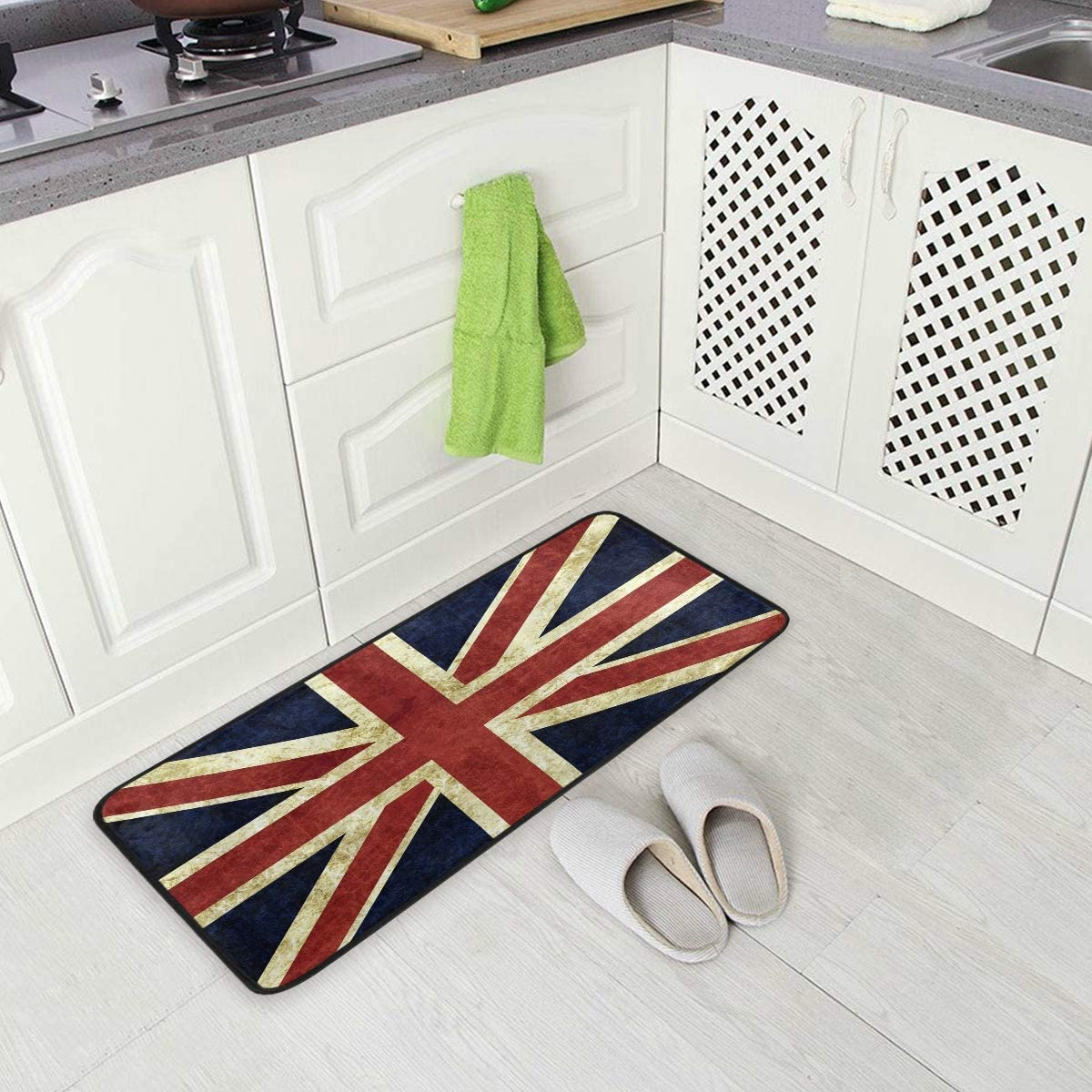 ALAZA Vintage Union Jack British Flag Non Slip Kitchen Floor Mat Kitchen Rug for Entryway Hallway Bathroom Living Room Bedroom 39 x 20 inches 1.7 x 3.3