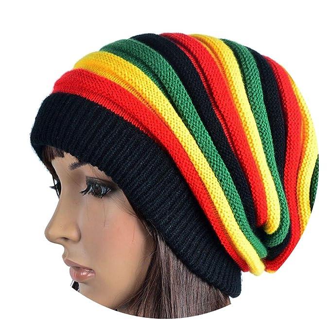 424d197dc65d Amazon.com  Hop Bob Jamaican Cap Rasta Reggae Hat Multi-cur Striped Beanie  Hats Style Caps Gorros touca