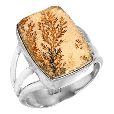 925 Silver Ring Shiny Psilomelane Dendritic Opal Gemstone