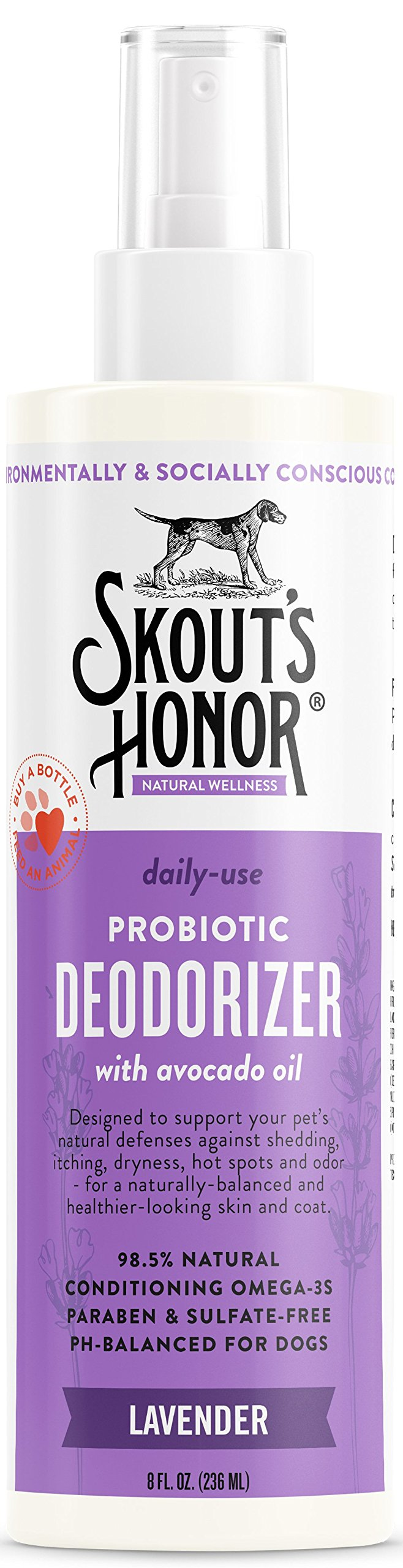 SKOUT'S HONOR Pet Conditioner Probiotic Deodorizer Lavender - 8 fl. oz. - Hydrates and Deodorizes Fur, Supports Pet's Natural Defenses, PH-Balanced and Sulfate Free - Avocado Oil…