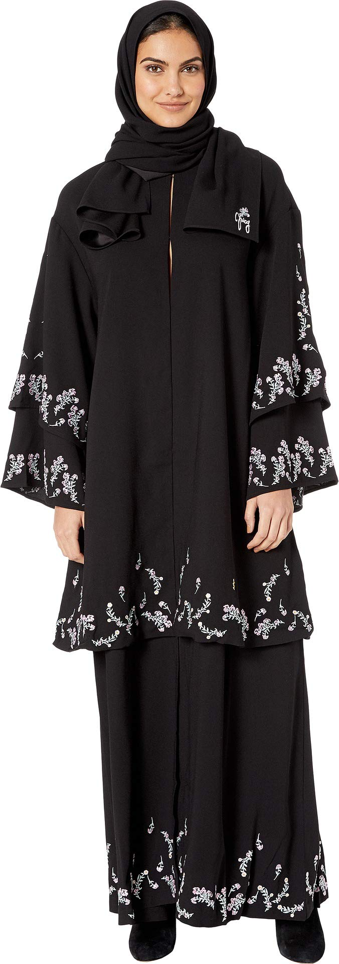 Juicy Couture Women's Floral Embroidered Abaya Pitch Black Petite/Small