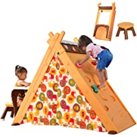 Merax Foldable Triangle Climber, 4-in-1 Kids Hideaway Play Tent with Art Easel, Stool for Toddlers 1 3 5 y.o, Climbing…
