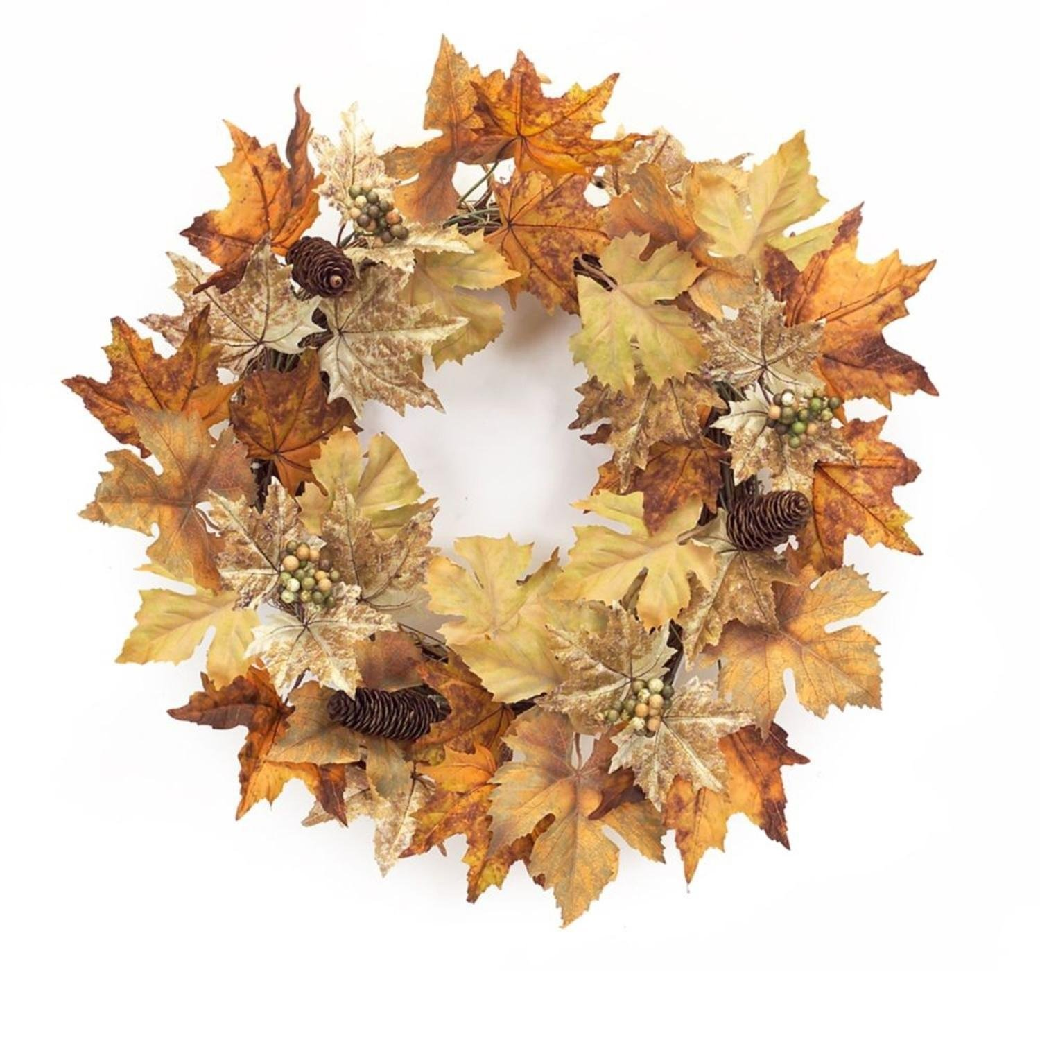 """Pack of 2 Decorative Orange and Brown Autumn Leaf Wreath with Mini Grapes and Pinecones 24"""""""