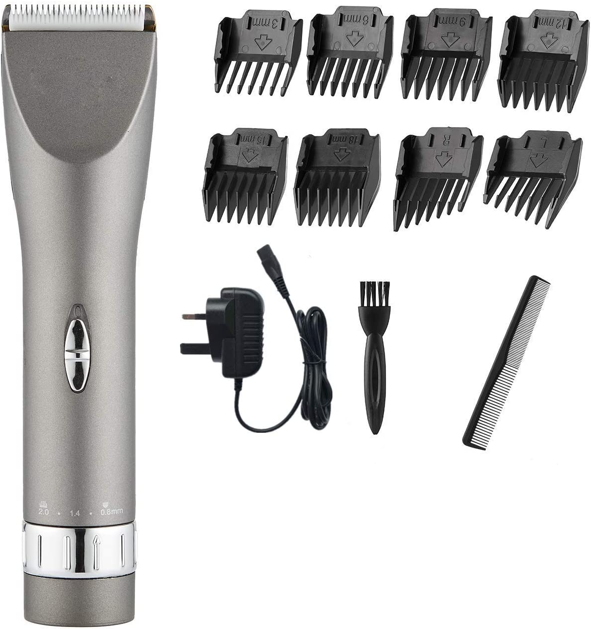Inalámbrico recargable del pelo Trimmer Clipper & Salon peluquero profesional kit de aseo de corte, con 8 Guía Combs, R-Edge en forma de diseño, baja vibración y ultra silencioso Diseño (gris plat