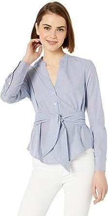 7c8082d61be6 BB Dakota Women s It s Business Yarn Dyed Stripe Tie Waist Shirt at ...